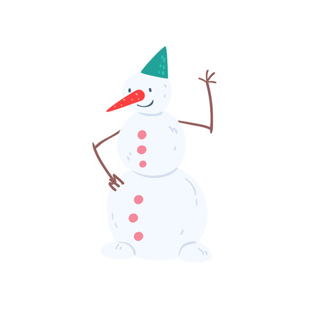 Cute funny snowman character, Christmas and New Year holidays decoration element vector Illustration isolated on a white background. Ilustracja