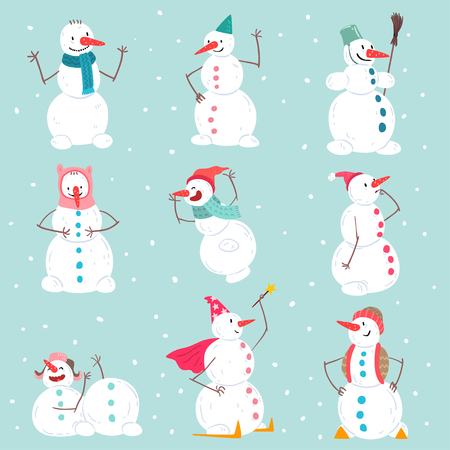 Funny emotional snowmen characters set in different situations, Christmas and New Year holidays decoration elements vector Illustration in cartoon style
