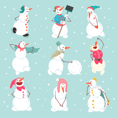 Funny snowmen characters set in different situations, Christmas and New Year holidays decoration elements vector Illustration in cartoon style Ilustração