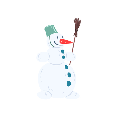 Funny snowman character with a bucket on his head and a broom, Christmas and New Year holidays decoration element vector Illustration isolated on a white background.