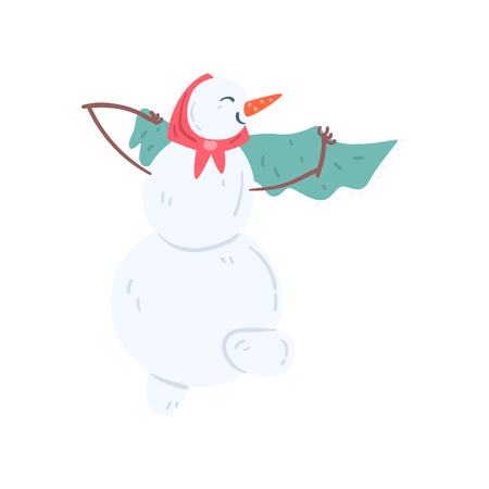 Funny snowman character wearing headscarf and shawl, Christmas and New Year holidays decoration element vector Illustration isolated on a white background.