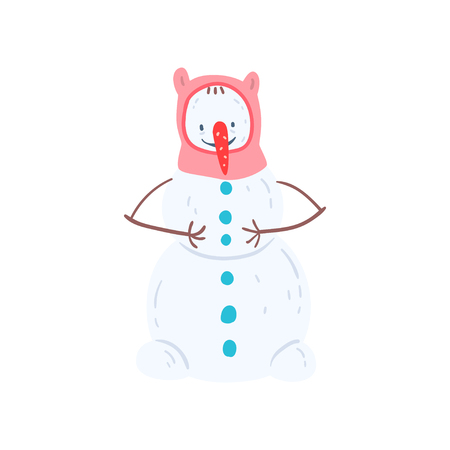 Cute funny nowman character in a hat, Christmas and New Year holidays decoration element vector Illustration isolated on a white background.
