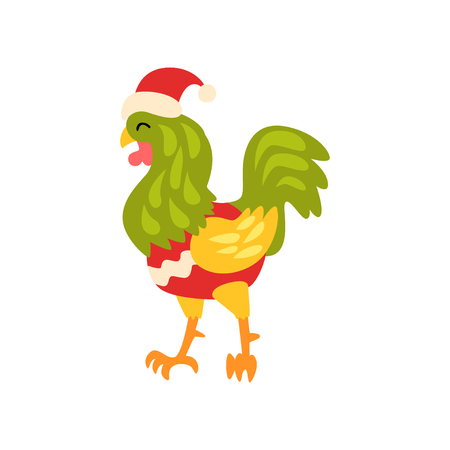 Rooster symbol of New Year, cute animal of Chinese horoscope in Santa Claus costume vector Illustration on a white background Illustration