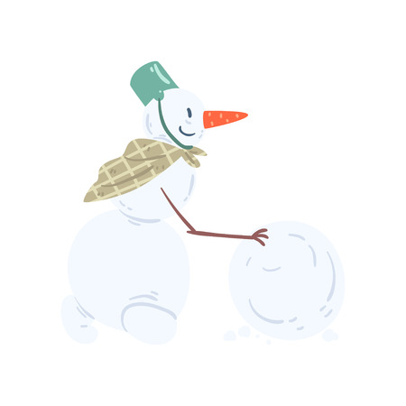 Funny snowman character rolling a snowball, Christmas and New Year holidays decoration element vector Illustration isolated on a white background. Ilustracja