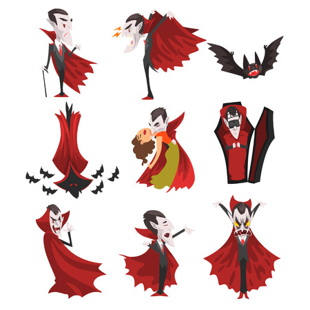 Count Dracula set, vampire cartoon character in red cape in different situations vector Illustration on a white background