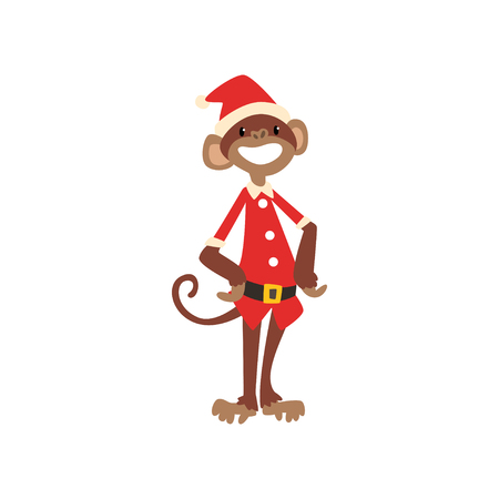 Funny monkey symbol of New Year, cute animal of Chinese horoscope in Santa Claus costume vector Illustration isolated on a white background. Illustration