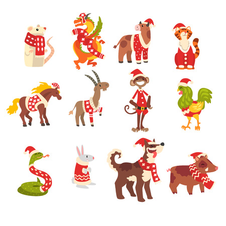 Symbols of New Year set, cute animals of Chinese horoscope in Santa Claus costumes vector Illustration isolated on a white background. Çizim