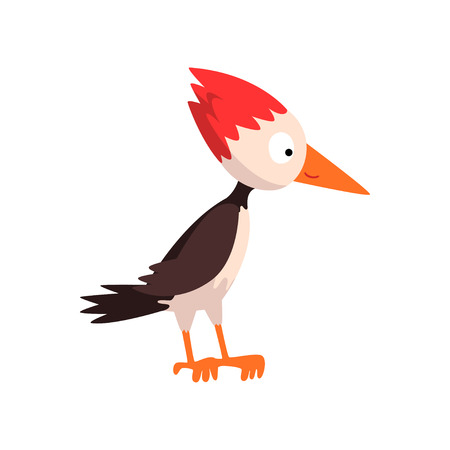 Cute funny woodpecker bird cartoon character, side view vector Illustration isolated on a white background. Illustration