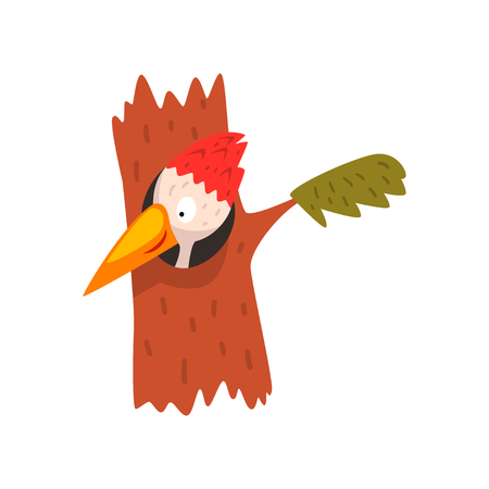 Cute woodpecker looking out of the hollow, funny bird cartoon character vector Illustration isolated on a white background.
