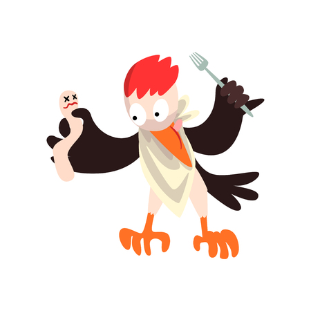 Funny woodpecker with dead and fork, bird cartoon character going to eat vector Illustration isolated on a white background. Stock Illustratie