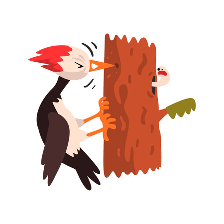 Cute woodpecker sitting on a tree and knocking, funny bird cartoon character vector Illustration isolated on a white background.  イラスト・ベクター素材