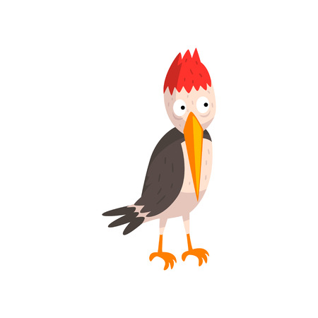 Cute funny woodpecker bird cartoon character vector Illustration isolated on a white background. Illustration