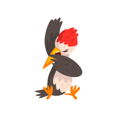 Cute funny woodpecker bird cartoon character sitting vector Illustration isolated on a white background. Illustration