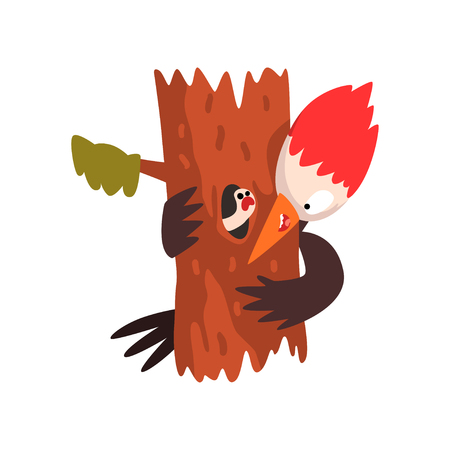 Funny woodpecker sitting on a tree and looking at a worm, cute bird cartoon character vector Illustration isolated on a white background. Stock Illustratie