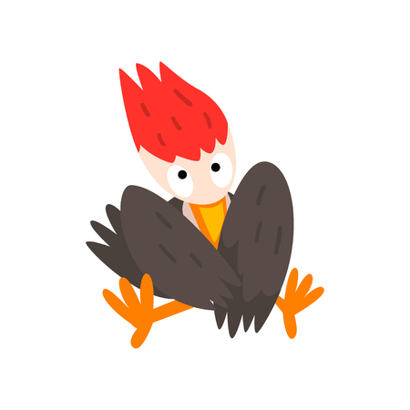 Cute funny woodpecker bird cartoon character sitting with folded wings vector Illustration isolated on a white background. Illustration