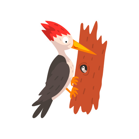 Cute woodpecker sitting on a tree with a worm, funny bird cartoon character vector Illustration isolated on a white background.