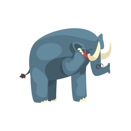 Elephant talking on the phone, cute animal cartoon character with modern gadget vector Illustration isolated on a white background.