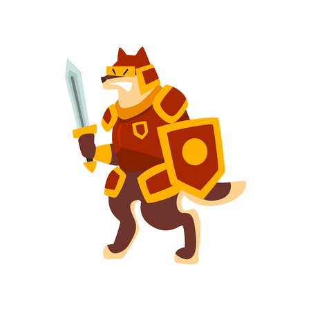 Knight dog character in full armor with shield and sword vector Illustration on a white background Illusztráció