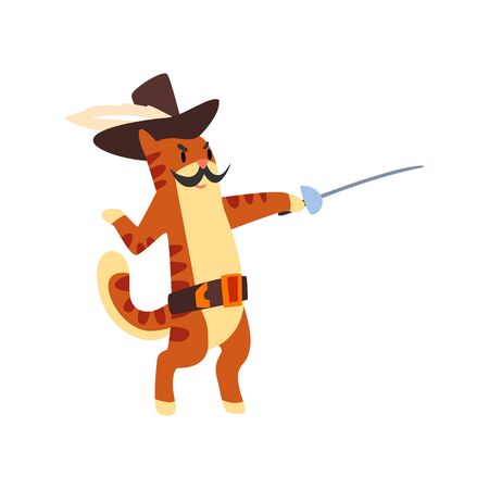 Musketeer cat character fighting with sword vector Illustration on a white background