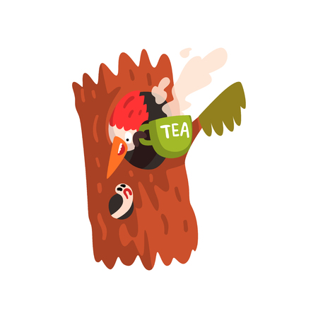 Funny woodpecker sitting in the hollow with a cup of tea, cute bird cartoon character vector Illustration isolated on a white background.