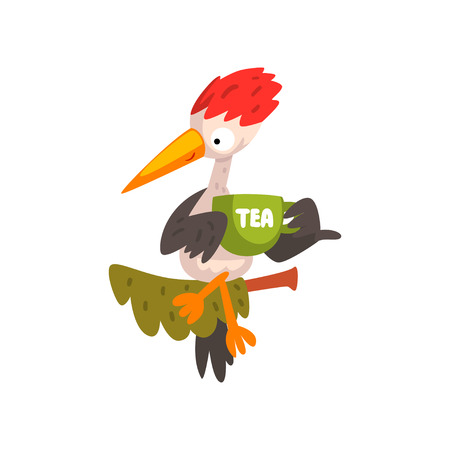 Cute woodpecker sitting on a branch with a cup of tea, funny bird cartoon character vector Illustration isolated on a white background.