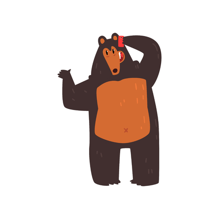 Bear talking on the phone, cute animal cartoon character with modern gadget vector Illustration isolated on a white background.