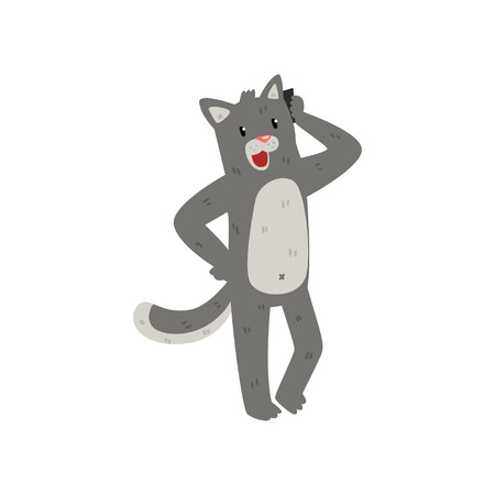 Gray cat standing and talking on the phone, cute animal cartoon character with modern gadget vector Illustration isolated on a white background.