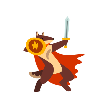 Gladiator dog in red cape fighting with sword and shield vector Illustration on a white background Archivio Fotografico - 111510205