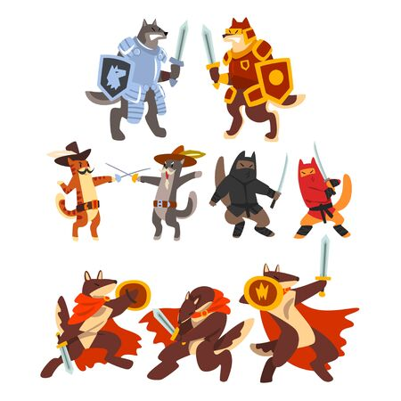 Cats and dogs warriors fighting set, knights, ninjas, gladiators characters in armor with swords vector Illustration on a white background Illustration
