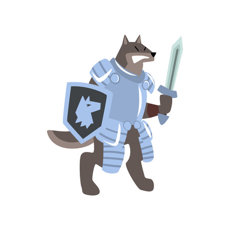 Knight dog character with shield and sword vector Illustration on a white background Illusztráció