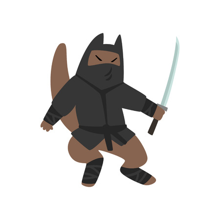Warlike ninja dog character fighting with a katana sword vector Illustration on a white background