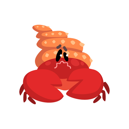 Crab character wearing turban hat, cute sea creature with funny face vector Illustration on a white background