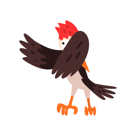 Cute woodpecker bird cartoon character flapping his wings vector Illustration isolated on a white background.