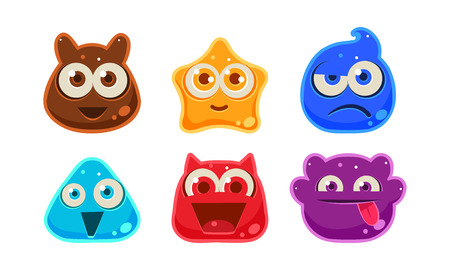 Cute funny colorful jelly monsters set, user interface assets for mobile apps or video games vector Illustration isolated on a white background.