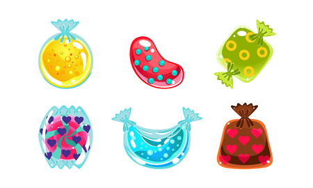 Glossy candies of different shapes, user interface assets for mobile apps or video games vector Illustration isolated on a white background.