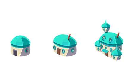 Cute little fantasy house and caastle set, fabulous city, town, village design elements for computer game Interface vector Illustration on a white background 일러스트