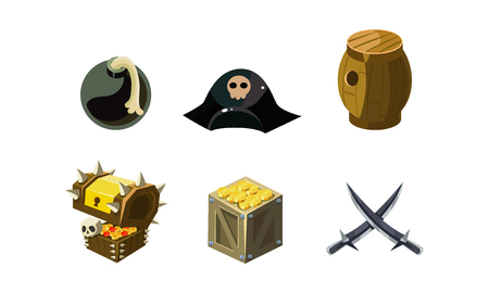 Pirate game elements set, bomb, hat, chest of gold, wooden barrel, crossed sabers, user interface assets for mobile apps or video games vector Illustration isolated on a white background. Illustration