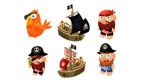 Pirate game elements set, male pirate, parrot, ship, user interface assets for mobile apps or video games vector Illustration isolated on a white background.