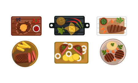 Collection of served food dishes, cooking and healthy eating concept, top view vector Illustration isolated on a white background.