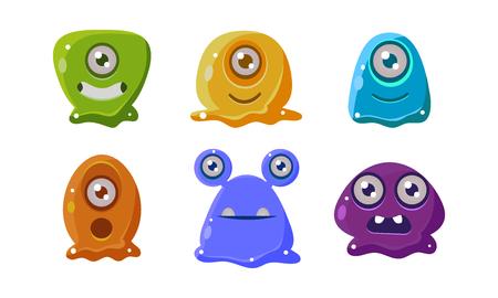 Śmieszne kreskówki kolorowe błyszczący cudzoziemców zestaw, zasoby interfejsu użytkownika dla aplikacji mobilnych lub gier wideo wektor ilustracja na białym tle.