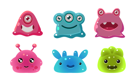 Cute funny colorful glossy aliens set, user interface assets for mobile apps or video games vector Illustration isolated on a white background.