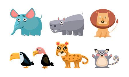 Nette wilde afrikanische Tiere eingestellt, Löwe, Nilpferd, Elefant, Tukan, Weißkopfseeadler, Tiger, Mausvektorillustration lokalisiert auf einem weißen Hintergrund. Vektorgrafik