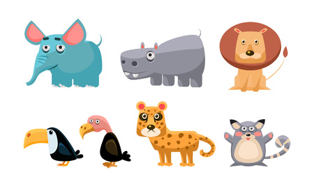 Cute wild African animals set, lion, hippopotamus, elephant, toucan, bald eagle, tiger, mouse vector Illustration isolated on a white background. Illustration