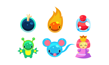Collection of kids game user interface fantasy elements vector Illustration isolated on a white background.