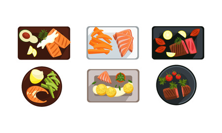 Collection of served food dishes, meat and salmon steak, cooking and healthy eating concept, top view vector Illustration isolated on a white background. Archivio Fotografico - 128163393