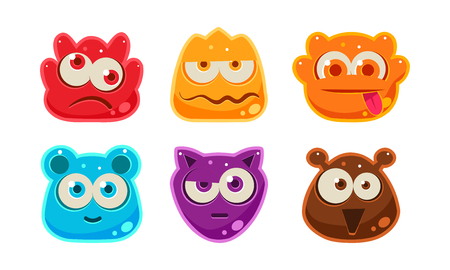 Cute funny colorful jelly animal faces set, user interface assets for mobile apps or video games vector Illustration isolated on a white background.