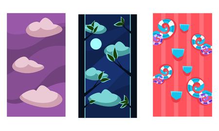 Seamless landscapes for game background, user interface assets for mobile apps or video games vector Illustration on a white background Reklamní fotografie - 111657868