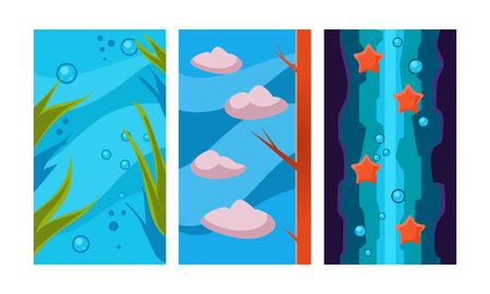 Underwater world for game background, user interface assets for mobile apps or video games vector Illustration isolated on a white background. Ilustração