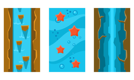 River and underwater seamless landscapes set, user interface assets for mobile apps or video games vector Illustration isolated on a white background.