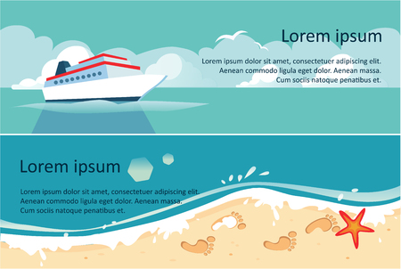 Ship, blue sea and beach, summer travel, sea or ocean horizontal banner vector Illustration, web design
